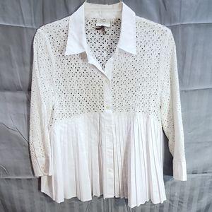💛 HD in Paris white button down blouse size 12